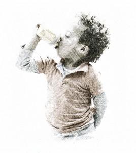 Levi poseert in drinkhouding