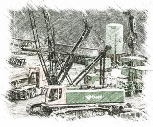 bouwkraan van bam op het project NHC Utrecht